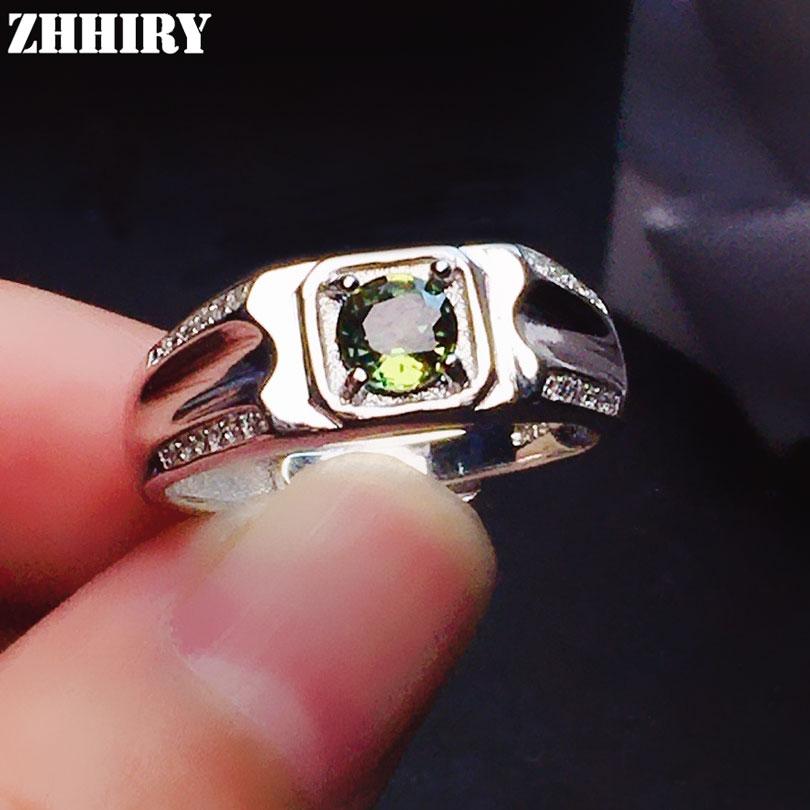 ZHHIRY натуральный жёлтый драгоценный сапфир кольцо из настоящего серебра 925 пробы кольца ювелирные украшения для женщин 5*5 мм