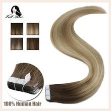 Full Shine Tape In Hair Extensions 50g 20pcs Glue On Balyayage Color 100% Human Hair Extensions Adhesive machine made remy