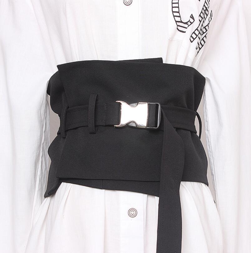 Women's Runway Fashion Black Fabric Cummerbunds Female Dress Corsets Waistband Belts Decoration Wide Belt R2614
