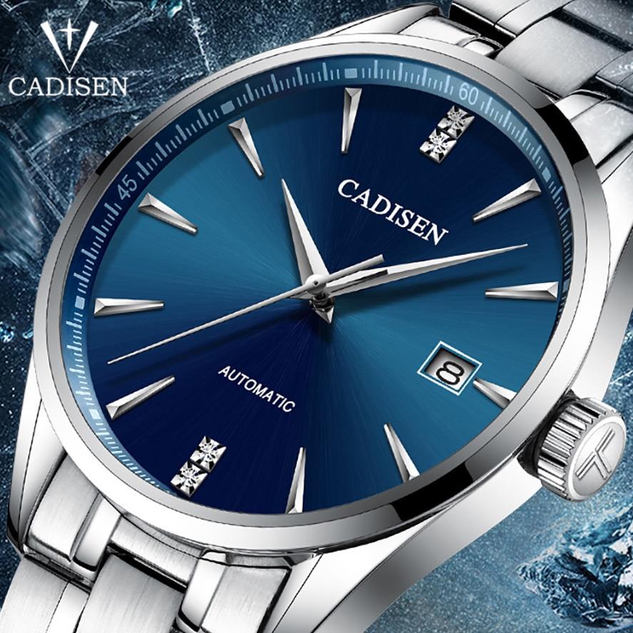 Cadisen topo da marca de luxo masculino relógio de negócios relógio de aço masculino mecânico automático wirstwatch à prova dwaterproof água relogio masculino