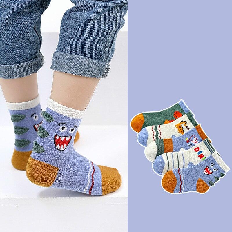 5Pair/lot Children Cotton Boys Girls Socks Cute Cartoon Pattern Kids Socks For Baby Boy Girl Sport Style Suitable For 1-10Y 5