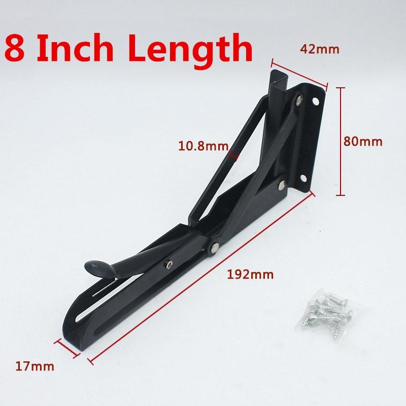 2PCS,8 Inch Length Black Table Folding Angle Bracket Adjustable Wall Mounted Small Shelf Bracket DIY Home Table Bench