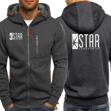 The Flash STAR Print Comic Books TV Star Labs Hoodies Fashion Zipper Coat Streetwear Male Jacket