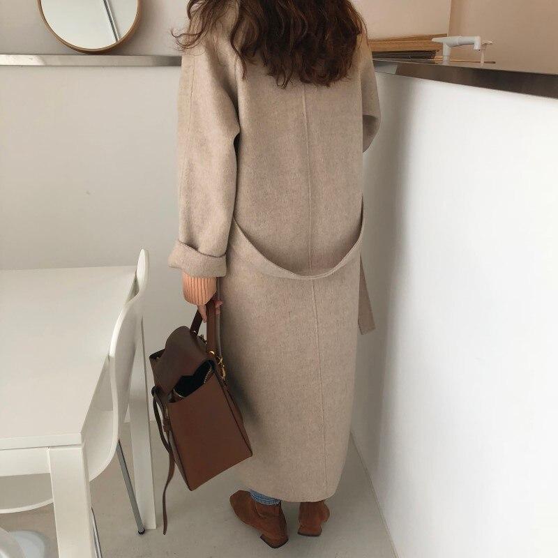 19 Winter Oversize Long Trench Coat Women Cashmere Coat Korean Lady Windbreaker Outwear Streetwear 86