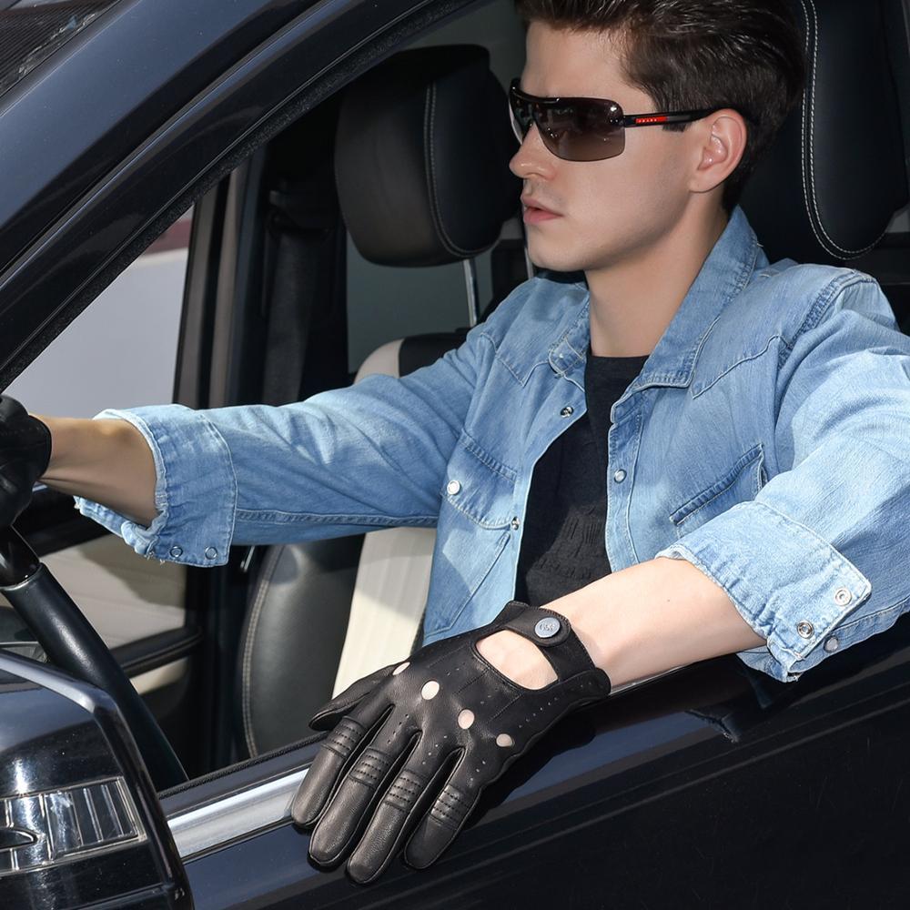 GSG Mens Leather Gloves Mittens Hole Button Breathable Goat Genuine Leather Men Driving Gloves Half Finger Gloves
