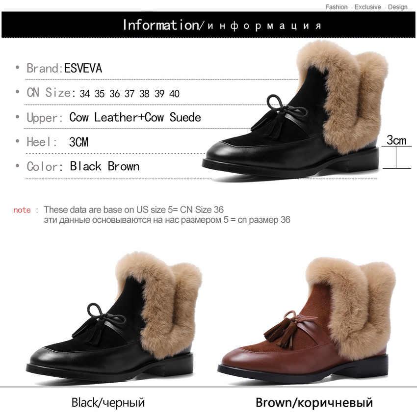 ESVEVA 2020 inek deri inek süet kare topuk kadın ayakkabı üzerinde kayma sonbahar kış sıcak kürk yuvarlak ayak püskül yarım çizmeler boyutu 34-40