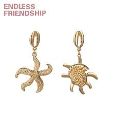 Endless Friendship Seastar Conch Earring for Women Sea Bohemian Earrings Summer Beach Accessories Charms Pendant