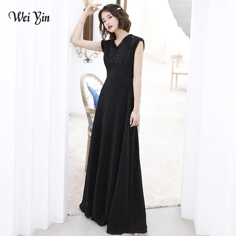 AE0135 wei yin 2019 Black Sexy V Neck Sequin Long   Evening     Dress   Elegant A Line   Evening   Gowns Robe De Soiree Longue