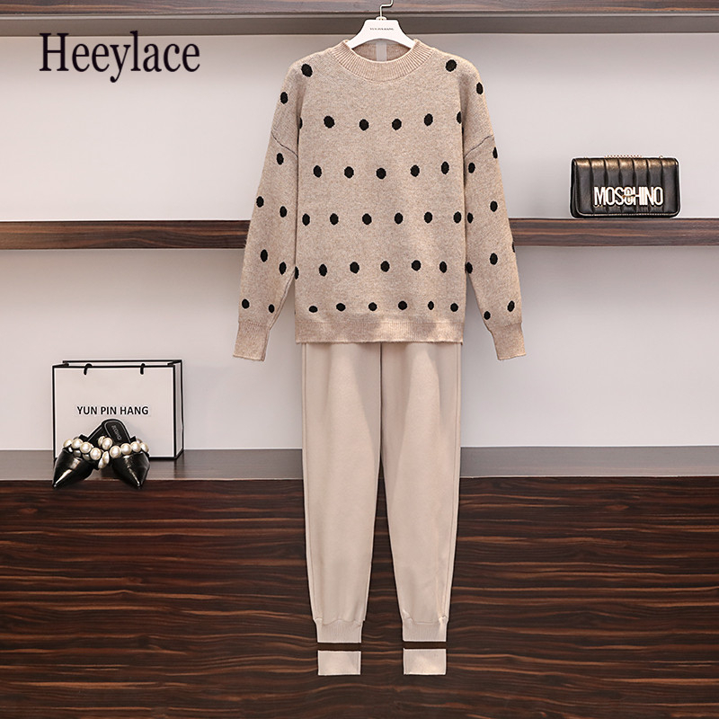 Plus Size Woman Long Sleeve Polka Dot Pullover Knit Sweater And Long Pant Set 2019 Autumn Winter Women Office Ladies Outfits