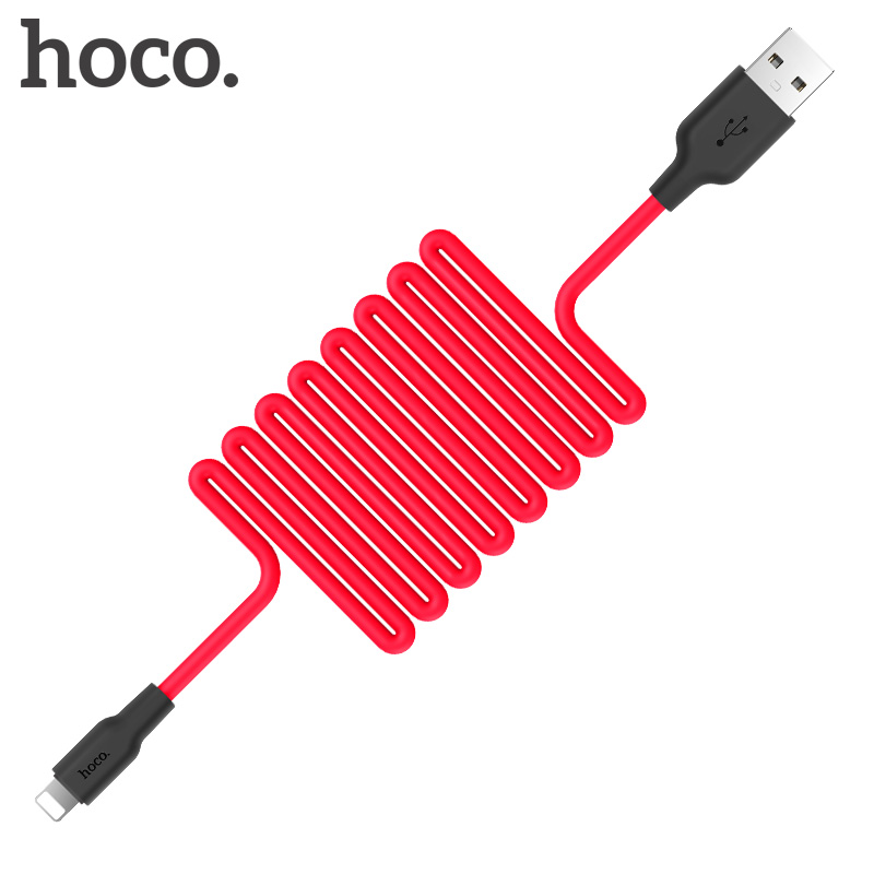HOCO Silicone fast Charging USB Cable for Apple iphone 11 Pro X XS XS Max 8 7 6 Plus iPad Charger Fire resistance good hand feel