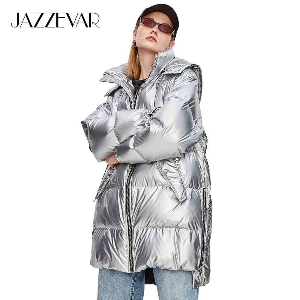 JAZZEVAR 2019 Зимняя женская куртка новая мода уличная женская Edgy серебряная длинная пуховая куртка классная пуховая куртка на молнии с капюшоном для девочек верхняя одежда z18004