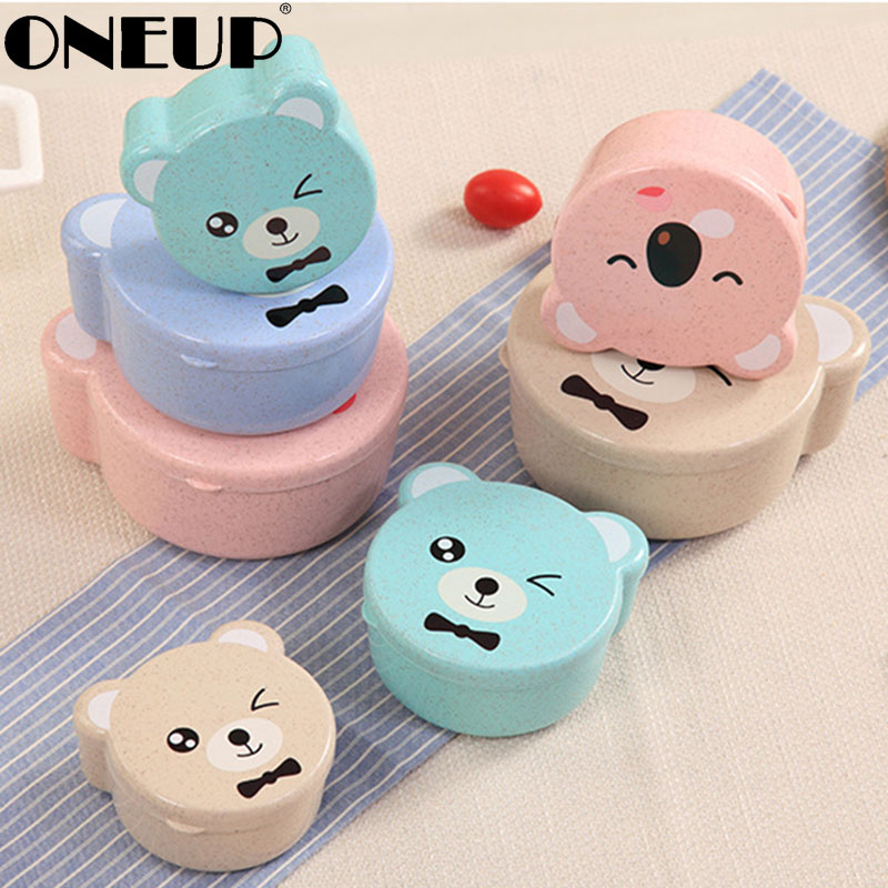 ONEUP 4pcs Wheat Straw Eco Friendly Lunch Box Leakproof Food Container For Kids Bento Box 2019 New Random Bear Pattern Lunch Box|Lunch Boxes| |  - title=