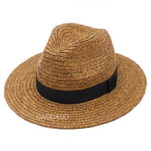 Image 1 - Duży rozmiar Panama kapelusz duże kości mężczyźni kobiety plaża fedora z szerokim rondem Cap wysokiej jakości Plus rozmiar rafia kapelusze słomkowe 57cm 59cm 61cm 63cm