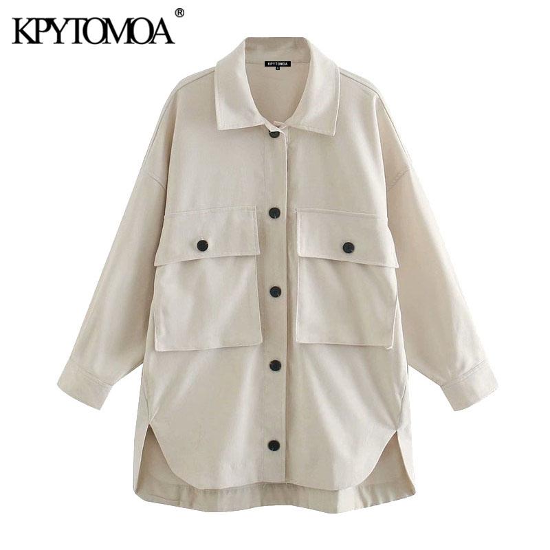 KPYTOMOA Women 2020 Fashion Pockets Oversized Asymmetric Jackets Coat Vintage Long Sleeve Button up Female Outerwear Chic Tops