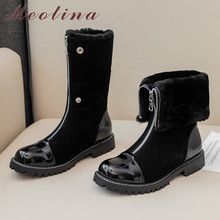 Купить с кэшбэком Meotina Winter Snow Boots Women Boots Cow Suede Zipper Flat Mid Calf Boots Warm Wool Round Toe Shoes Female New Black Size 34-39