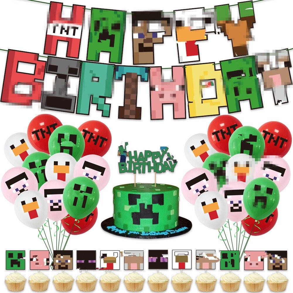 Миры игра пикселей воздушные шары набор «С Днем Рождения» гирлянды из флажков баннер неровной торт топпера, клипсы для воздушных шаров, 12 дю...