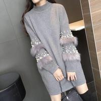 2019 Women Pullover Wool Faux Rabbits Fur Beaded Jumper Sweater Long Sleeve Female Fall Winter Long Knitted Sweater