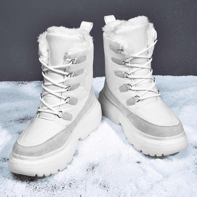 ERNESTNM חדש שחור מגפי גברים אמצע עגל עמיד למים בד חם קטיפה נעלי 2019 נשים בתוספת גודל נשים נעלי Platfrom combat אתחול