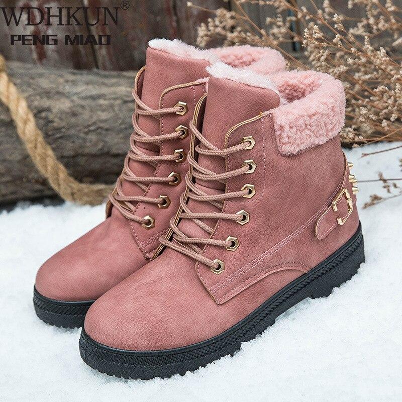 Женские ботинки для снежной погоды, коллекция 2020 года, плюшевые ботильоны на шнуровке, женские ботинки, теплые зимние ботинки в британском стиле для студентов|Зимние сапоги| | АлиЭкспресс