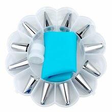 14 ピース/箱デザートのデコレータシリコーンアイシング配管クリームペストリーバッグステンレス鋼配管アイシングノズルクリーム菓子ツール