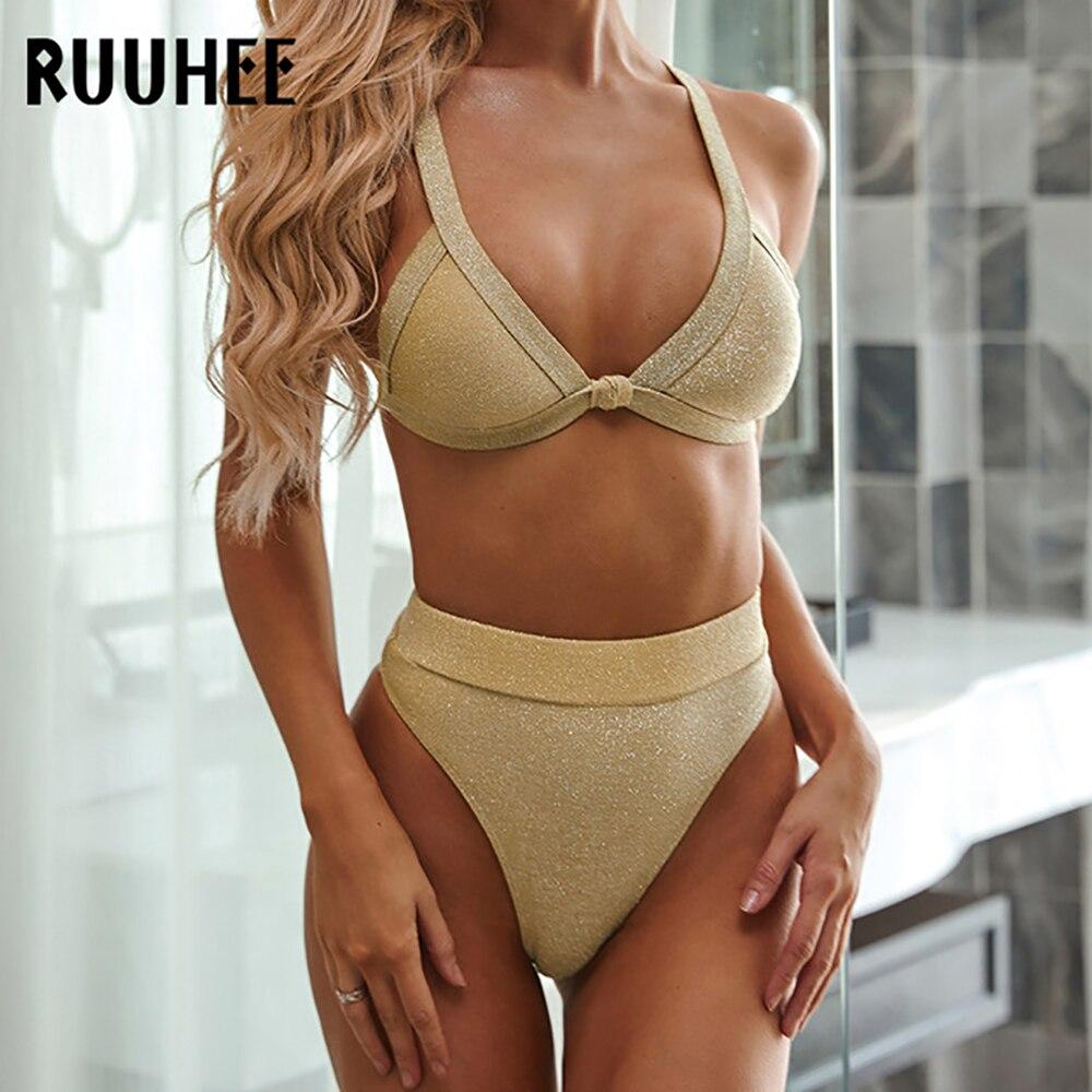 RUUHEE 2020 High Waist Bikini Swimwear Sexy Women Swimsuit Solid Bikini Set Bathing Suit Push Up Beachwear Female Summer Biquini