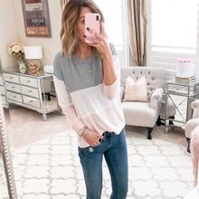 Women O-neck Long Sleeve Top Casual Patchwork T-shirt Autumn Colorblock Tops Streetwear