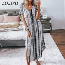 2021 New Summer Women Maxi Dress Tie Dye Printing Beach Split Female Vestidos V-Neck Loose and Thin Large Size Irregular Dresses