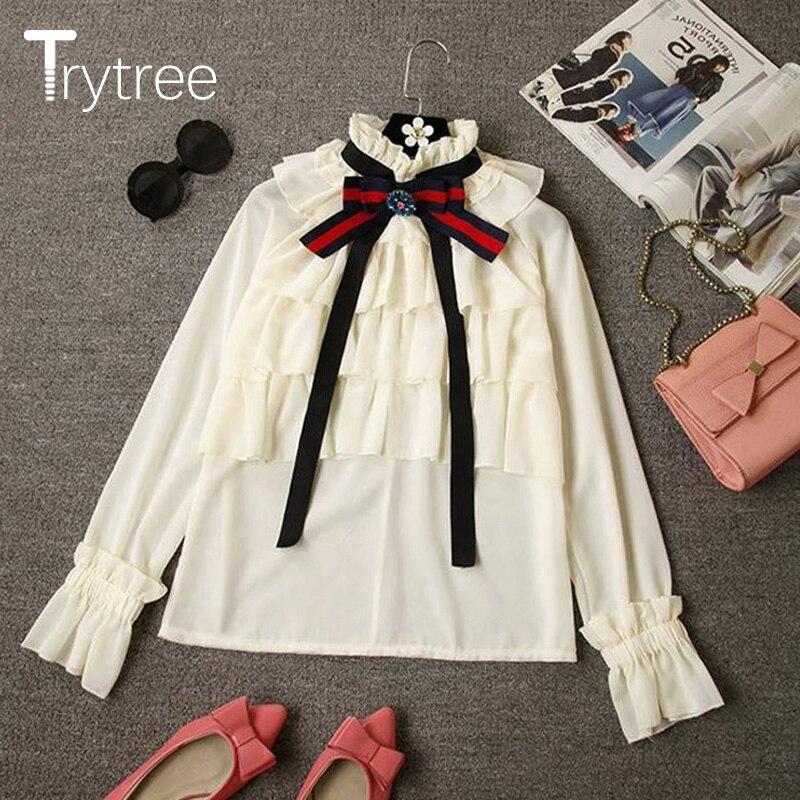Ttytree 2019, Осенние блузки, повседневные, полиэфирная рубашка, для женщин, для офиса, для девушек, с длинным рукавом, стоячий воротник, бант, обор...