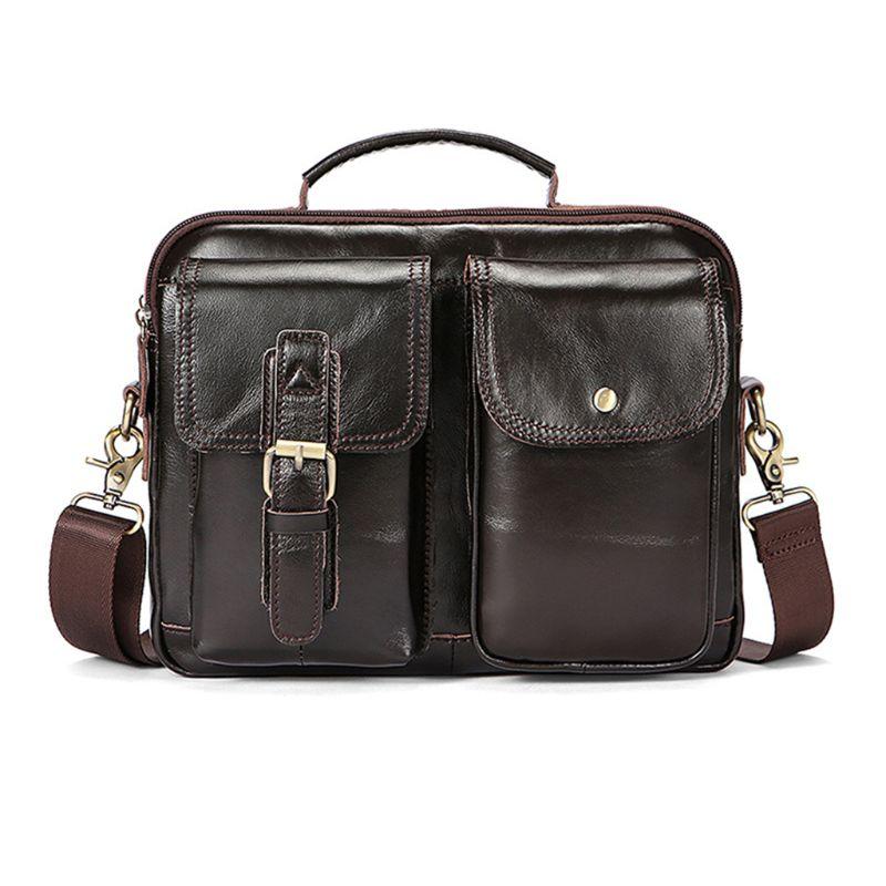 Vintage Men's Leather Casual Messenger Bag Laptop Tote Handbag Shoulder Bags Cross Body Briefcase
