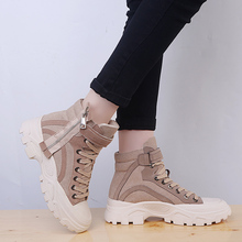 Liren 2019 Spring/Autumn PU Fashion Casual Women Boots Lace-up Round Toe Ankle Lady Comfortable Boots Mesh Flat Heels Shoes liren 2019 spring autumn fashion casual women boots lace up round toe flat heels ankle flat med high heels comfortable boots