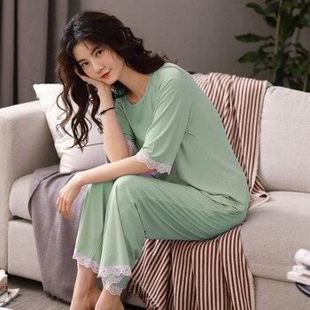 Women's Autumn Modal Homewear Pants+T Shirt 2 Pieces Set Female Pajamas Women's Home Clothes Atoff Suit Lady - discount item  54% OFF Women's Sleep & Lounge