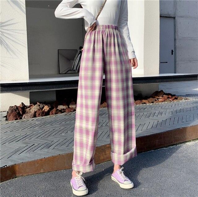 Femme Plus Taille Bleu à Carreaux Jambe Large Pantalon Chaîne Accent 3XL nouveau
