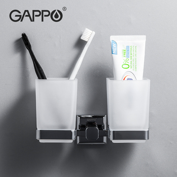 GAPPO Wall-mount Cup Tumbler Holders Double Toothbrush Tooth Cup Holder Cups Bathroom Accessories Bath Hardware Set G3806/G3808
