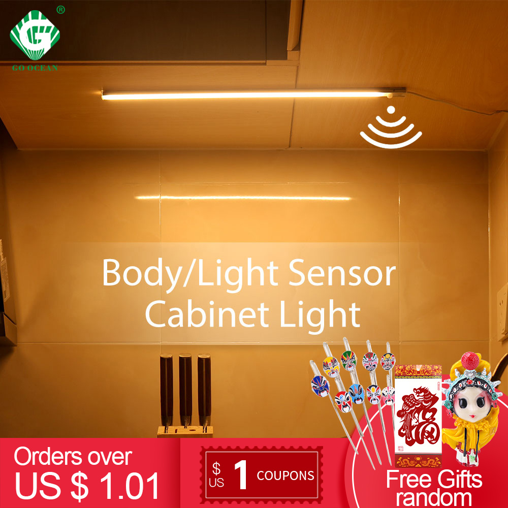 12V LED Under Cabinet Light Strip Bar Aluminnum Motion Sensor Lamp Strip Kitchen Wardrobe Cabinet Lighting 6W/8W/10W Night Light