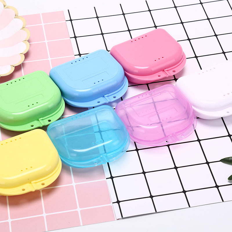 1PCS Denture Bath Storage Box Case Dental False Teeth Appliance Container Storage Boxes Dentures Cleaner Levert Drop Ship