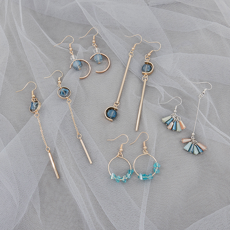 Korea Fashion Temperament Long Crystal Tassel Asymmetry Dangle Earrings Personality Simple Girl Women's Jewelry Accessories