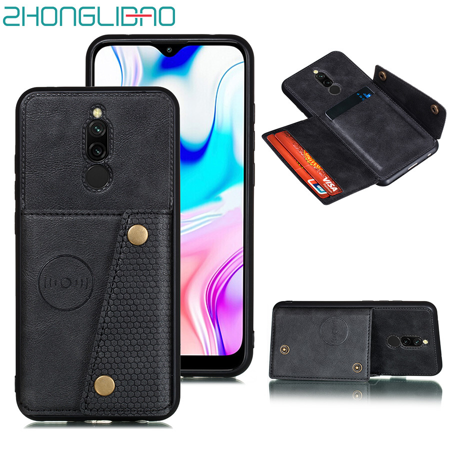 Case for Redmi 8 8a Note 8 7 Mi9t Pro Card Wallet Cover for Xiaomi K20 Mi 9t Redmi 7a Note 8T 8 T PU Leather Car Magnetic Stand image