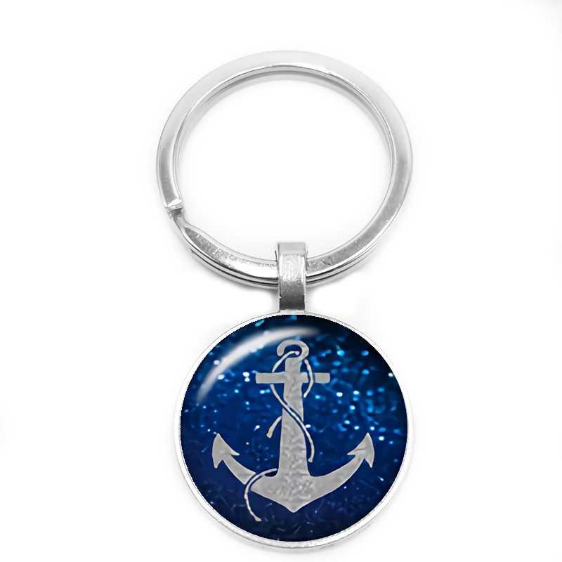 Joyería de moda llavero personalizado ancla impresión llavero vidrio convexo redondo plata Metal llavero para enviar regalo de la Marina
