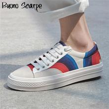Flat Women Vulcanized Shoes Painted Lace