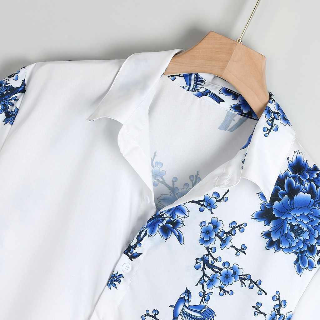 のメンズシャツカミーサカジュアル半袖 Tシャツ胸のプリントターンダウン襟ラウンド裾男性ブラウストップカミーサ masculina