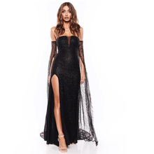 купить Black Glitter Cut Out Long Sleeve Strapless Party Maxi Dress Mermaid Split Leg Floor Length V Neck Mesh Backless Bodycon Dress дешево