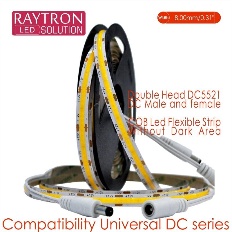 CRI90-tira Led COB de doble cara, 320 o 480 Chips, alto brillo, 8mm, IP20, conector DC doble DC12V, 24V, 3M, 10 w/metros