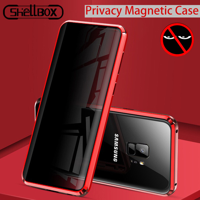 מזג זכוכית טלפון פרטיות מתכת מגנטי מקרה לסמסונג גלקסי S20 S9 בתוספת הערה 9 10 מגנט נגד מרגלים 360 מגן כיסוי