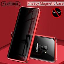 Temperli cam telefon gizlilik Metal manyetik kılıf Samsung Galaxy S20 S9 artı not 9 10 mıknatıs Anti casus 360 koruyucu kapak