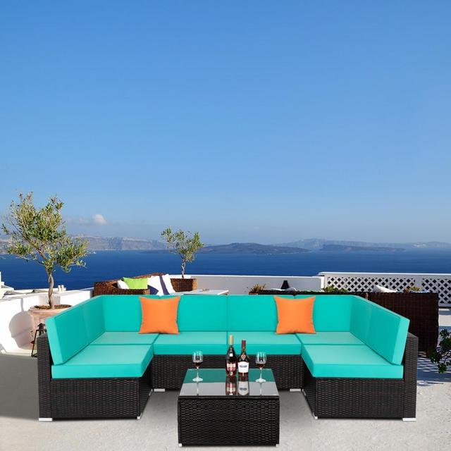 7 IN 1 Garden Rattan Sofa Furniture Set  6