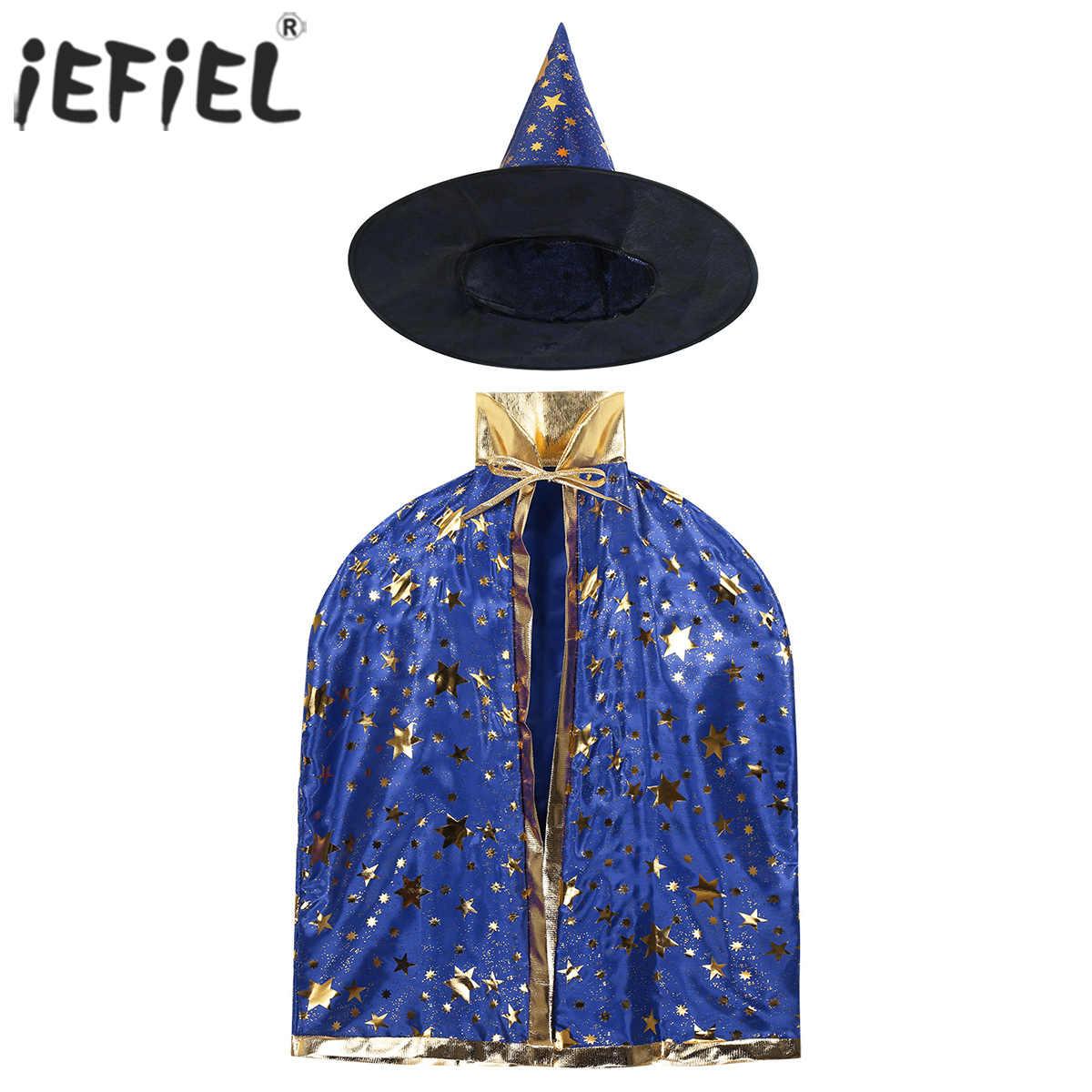 Anak-anak Anak-anak Caster Magic Halloween Kostum Penyihir Penyihir Jubah Cape dengan Menunjuk Topi Pakaian Set untuk Cosplay Gaun Pesta