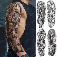 Grande braço manga tatuagem urso crânio à prova dwaterproof água temporária tatto adesivo deus zeus poseidon corpo arte completa falso tatoo