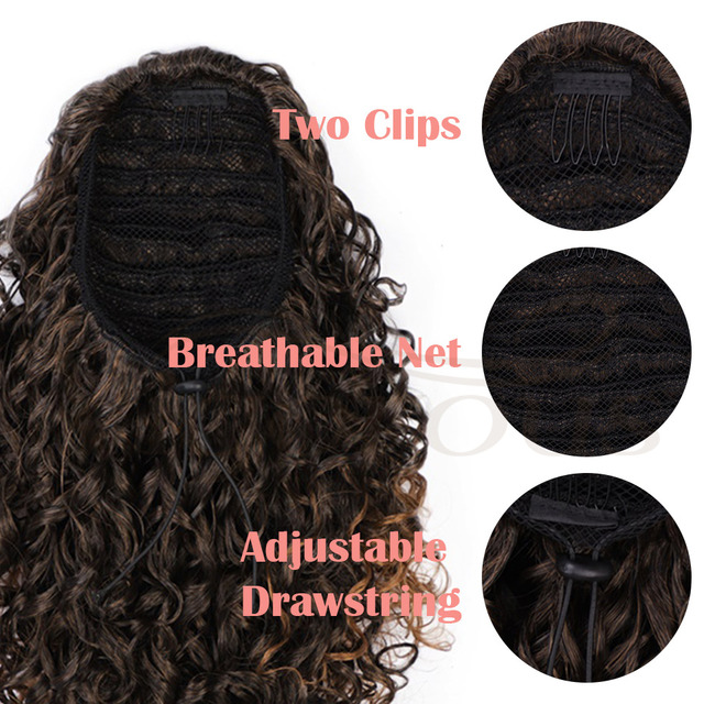 Vigorous Drawstring Puff Ponytail Afro Kinky Curly Hair Extension Synthetic Clip in Pony Tail African American Hair Extension