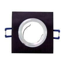 Черный квадратный Встраиваемый светодиодный потолочный светильник регулируемая рама для MR16 GU10 точечная лампа держатель