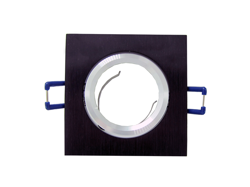 NEW Black Square Recessed LED Ceiling Light Adjustable Frame For MR16 GU10 Bulb Downlight Holder